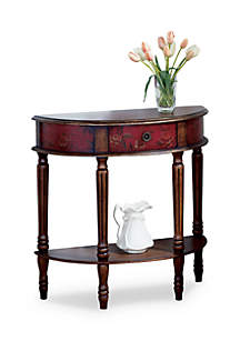 Mozart Red Hand Painted Demilune Console Table