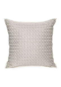 Reece Embroidered Tribal Grid Decorative Pillow