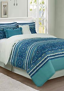 Teal Medallion 6-Piece Comforter Bed-In-A-Bag