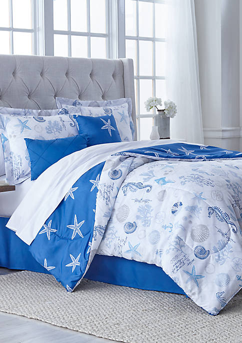 Starfish 6 Piece Reversible Comforter Bed In a Bag Set