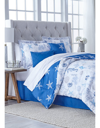 Twin Full Queen King Bed Blue Taupe Tan Brown Seashells Beach 7 pc Comforter Set