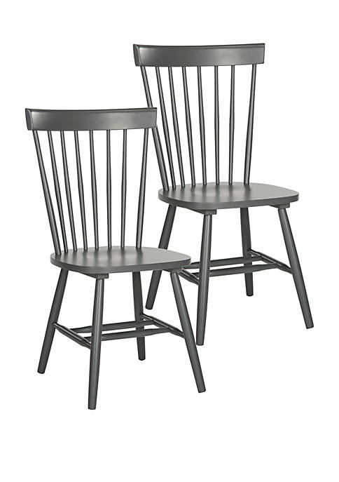 Set of 2 Parker Charcoal Gray Spindel Side Chairs
