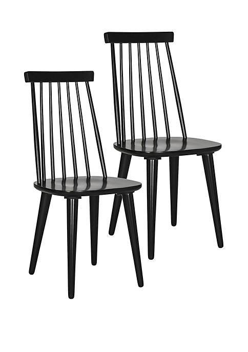 Safavieh Set of 2 Burris Black Side Chairs