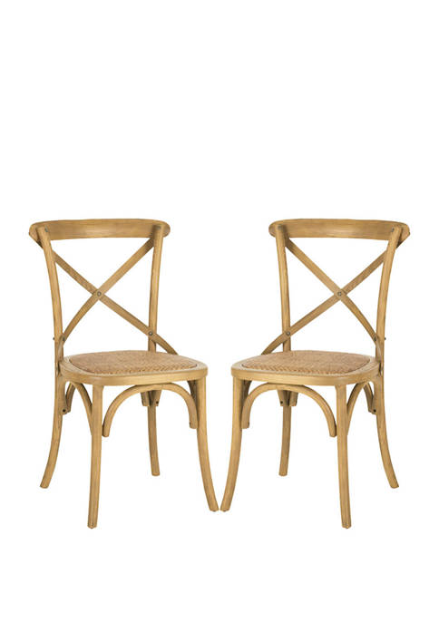 Set of 2 Franklin X Back Weathered Side Chairs