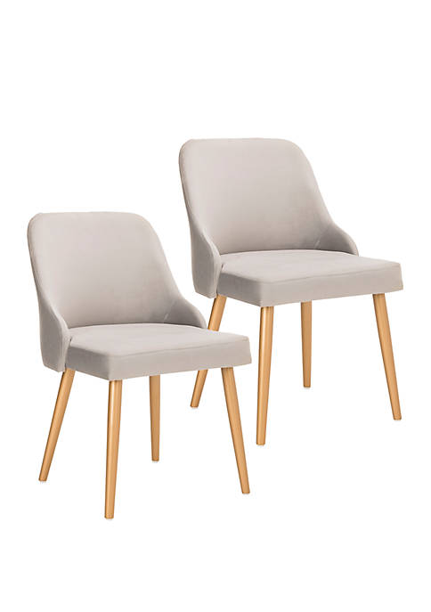 Set of 2 Lulu Gray Upholstered Dining Chairs