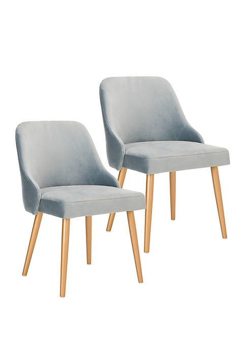 Set of 2 Lulu Slate Blue Upholstered Dining Chairs