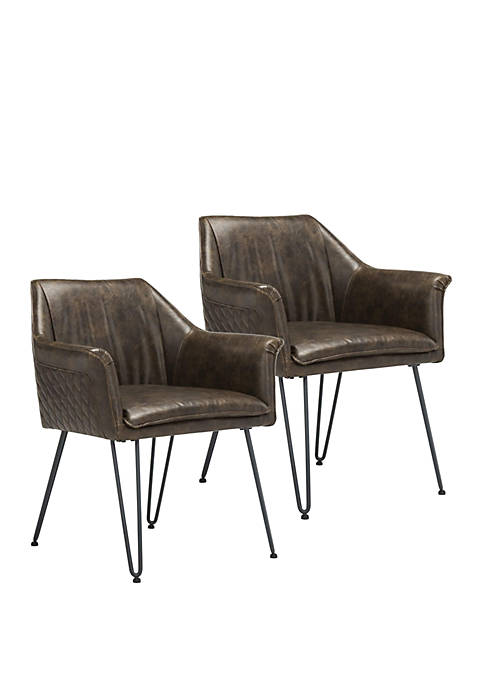 Safavieh Set of 2 Esme Leather Dining Chairs