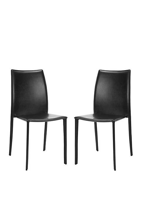 Safavieh Set of 2 Korbin Black Bonded Leather