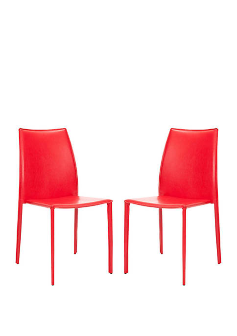 Set of 2 Korbin Red Bonded Leather Side Chairs