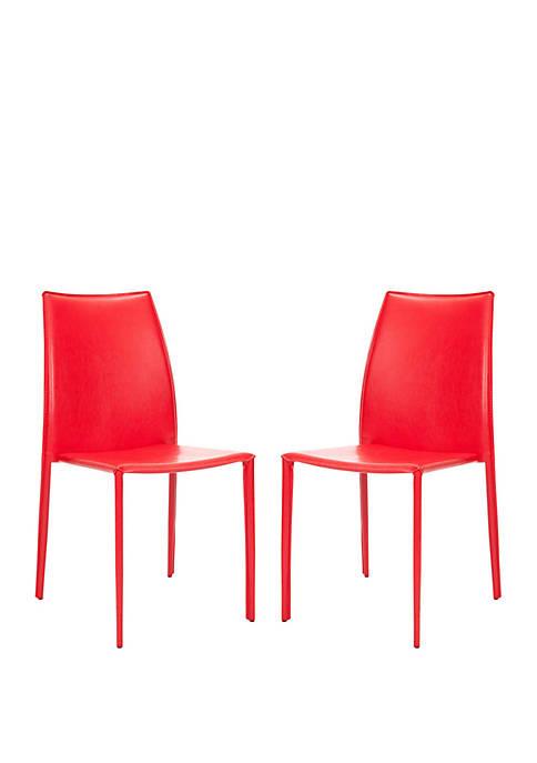 Safavieh Set of 2 Korbin Red Bonded Leather