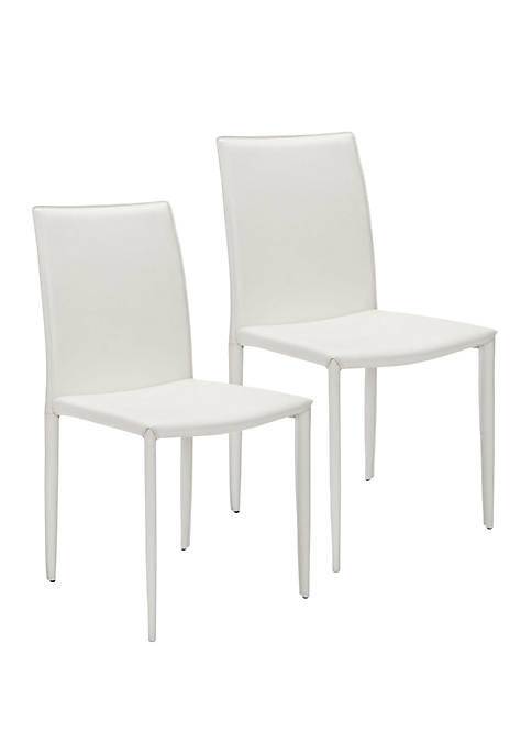 Set of 2 Karna Kd White Bonded Leather Side Chairs