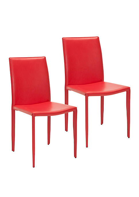 Set of 2 Karna Kd Red Bonded Leather Side Chairs