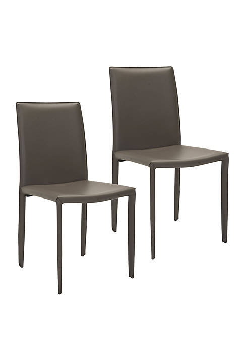 Set of 2 Karna Kd Gray Bonded Leather Side Chairs