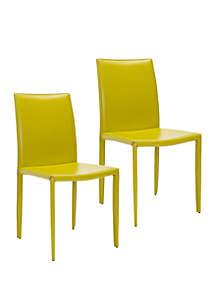 Safavieh Set of 2 Karna Kd Avocado Bonded Leather Side Chairs