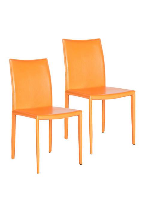 Set of 2 Karna Kd Orange Bonded Leather Side Chairs