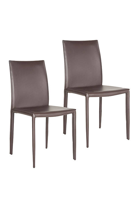 Set of 2 Karna Kd Brown Bonded Leather Side Chairs