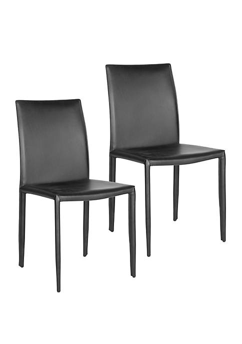 Set of 2 Karna Kd Black Bonded Leather Side Chairs