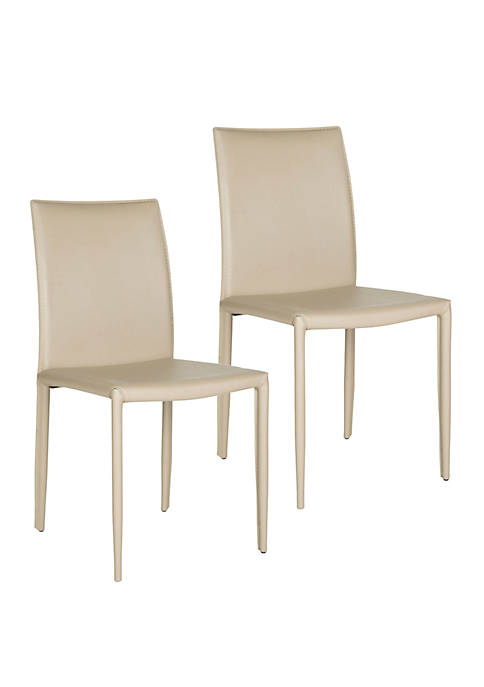 Set of 2 Karna Kd Bonded Leather Side Chairs