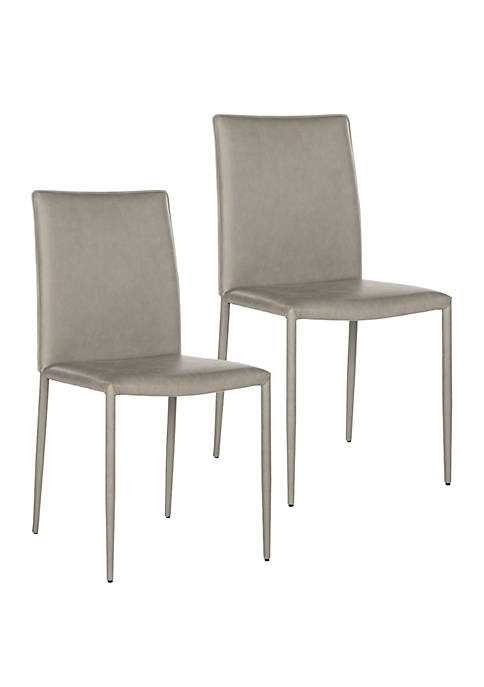 Set of 2 Karna Kd Antique Gray Bonded Leather Side Chairs