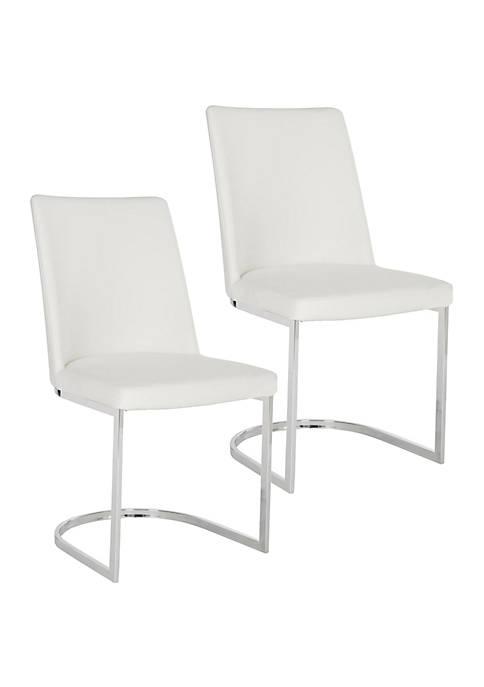 Safavieh Set of 2 Parkston White Polyurethane Leather
