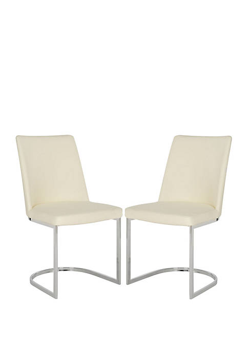 Set of 2 Parkston Buttercream Polyurethane Leather Side Chairs
