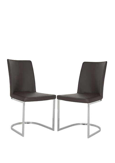 Set of 2 Parkston Brown Polyurethane Leather Side Chairs