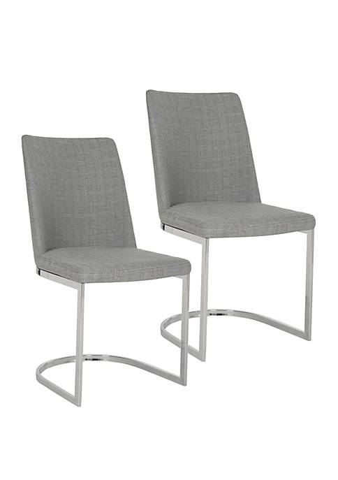 Set of 2 Parkston Gray Linen Side Chairs