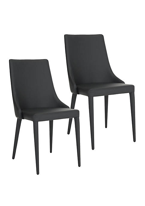 Set of 2 Summerset Black Polyurethane Leather Side Chairs