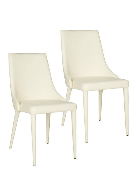 Set of 2 Summerset Buttercream Polyurethane Leather Side Chairs