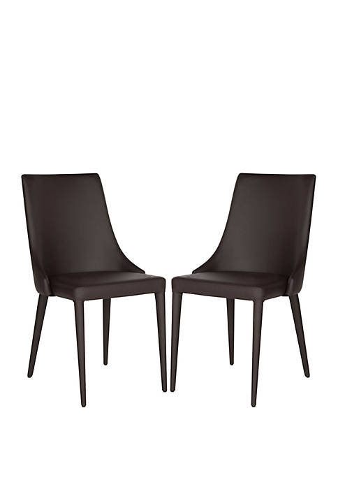 Set of 2 Summerset Brown Polyurethane Leather Side Chairs