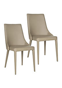 Safavieh Set of 2 Summerset Taupe Polyurethane Leather Side Chairs