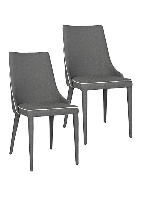 Set of 2 Summerset Side Chair Gray Linen with White Piping