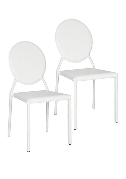 Set of 2 Warner White Polyurethane Leather Side Chairs