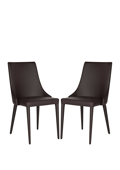Set of 2 Warner Black Polyurethane Leather Side Chairs