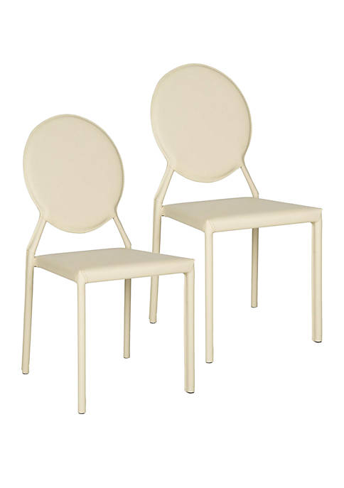 Set of 2 Warner Buttercream Polyurethane Leather Side Chairs