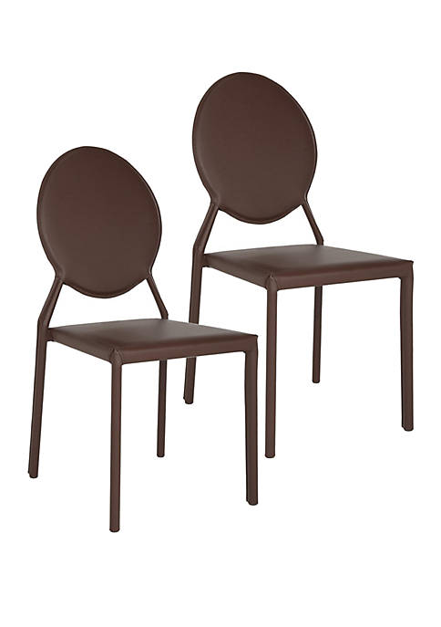 Set of 2 Warner Brown Polyurethane Leather Side Chairs