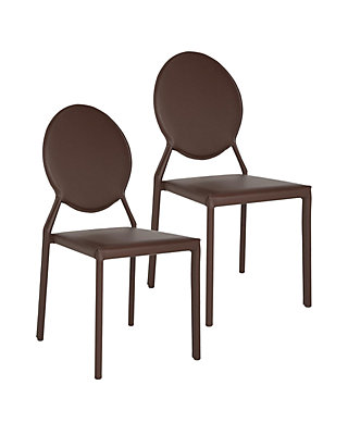 Astounding Set Of 2 Warner Brown Polyurethane Leather Side Chairs Bralicious Painted Fabric Chair Ideas Braliciousco
