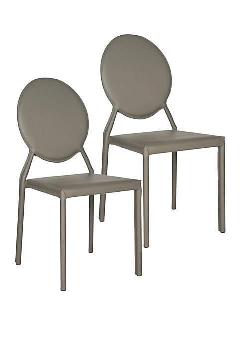 Set of 2 Warner Polyurethane Leather Side Chairs