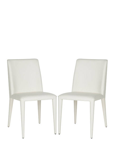 Set of 2 Garretson White Leather Side Chairs