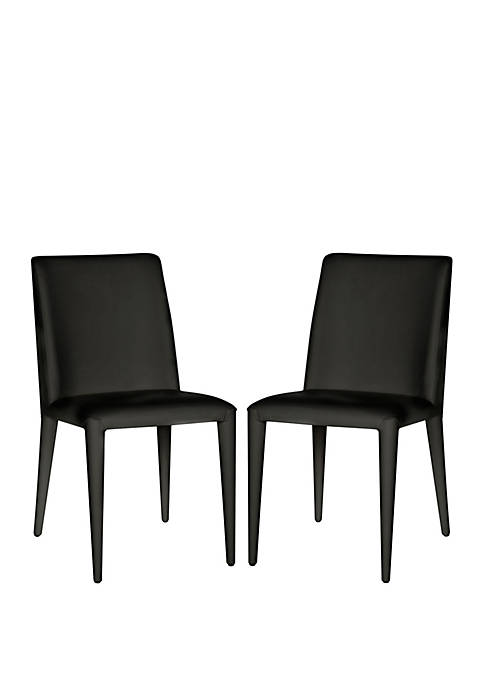 Set of 2 Garretson Black Leather Side Chairs
