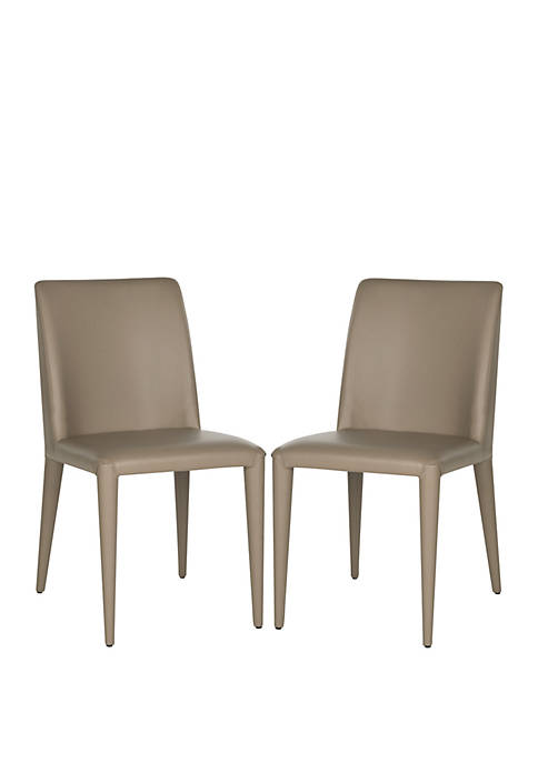 Safavieh Set of 2 Garretson Taupe Leather Side