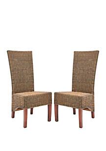 Safavieh Set of 2 Dark Honey Wicker Siesta Side Chairs