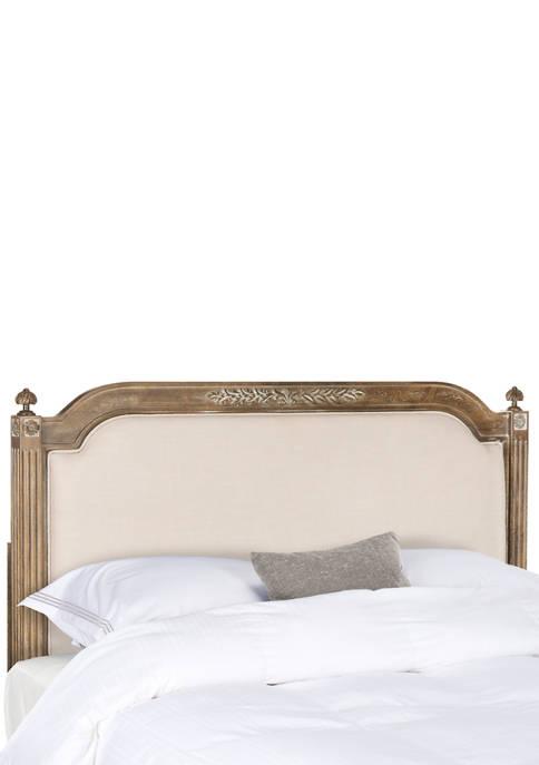 Rustic Wood Beige Linen Full Size Headboard