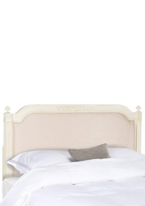 Rustic Wood Beige Linen Queen Size Headboard