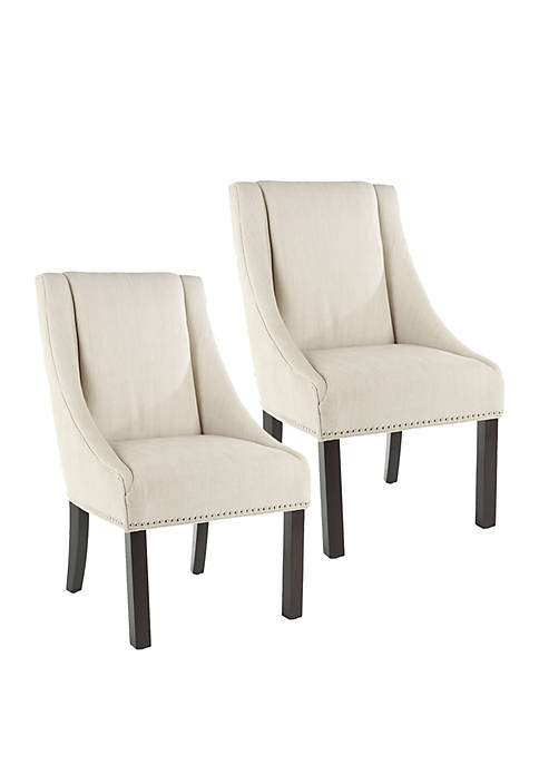 Set of 2 Morris Arm Chairs with Stainless Steel Nail Head Trim