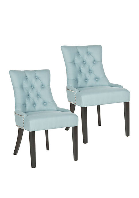 Set of 2 Harlow Ring Chair Light Blue Cotton and Linen