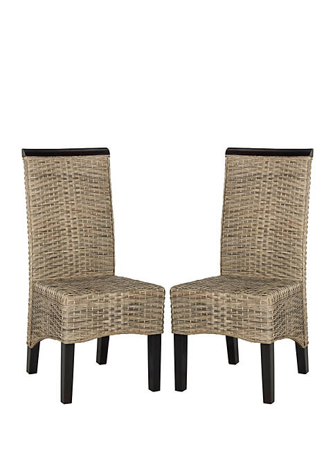 Safavieh Set of 2 Ilya Wicker Dining Chairs