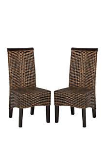 Safavieh Set of 2 Ilya Wicker Dining Chairs