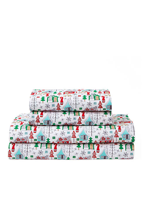 Elite Home Products Holiday Print Sheet Set