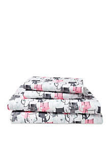 Elite Home Products Microfiber Kitty Love Full Sheet Set